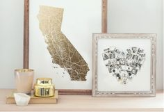 Gold accents for your walls: California Map Filled by GeekInk Design for minted.com; Heart Snapshot Mix™ Photo Art by minted.com