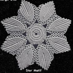 Vintage Crochet PATTERN Motif Bedspread Sunburst Leaf (p-1)