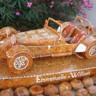 piece montee mariage original gateau choux nougatine personnalisé voiture ancienne