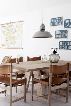Bjorn Agertved's Danish retreat Dining Area, Dining Room Design, Kitchen Dining, Design Room, Dinning Table, Home Furniture, Leather Chairs, Leather Seats, Vintage Industrial