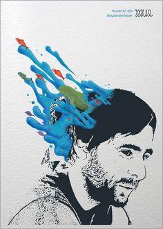 Poster 50 x 70 cm: kunst ist ein neuronenfeuer von mue – hochwertiger Kunstdruck, neues Kunstposter