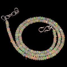 "32CRTS 3.5MM 18"" ETHIOPIAN OPAL FACETED RONDELLE BEADS NECKLACE OBI2121 #OPALBEADSINDIA"