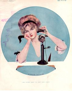 """Coles Phillips - Life Magazine cover (February 9, 1911) """"Long Distance Makes The Heart Grow Fonder"""" Fadeaway girl"""
