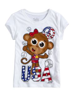 USA Monkey Tee | Animals | Graphic Tees | Shop Justice