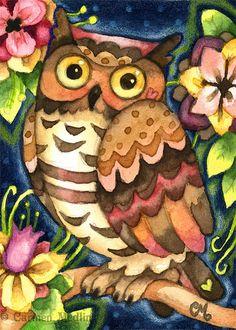 ACEO Hoot Garden - Original Cute Owl Painting