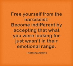 Free yourself from the narcissist: Become indifferent by accepting that what you were looking for just wasn't in their emotional range.
