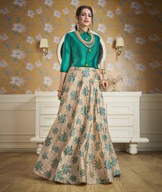 Buy Beige Satin Readymade Printed Skirt With Shirt Top 158679 online at best price from vast collection of Lehenga Choli and Chaniya Choli at Indianclothstore.com.