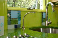 kitchen countertops green   Kitchen Design With a Modern, Eccentric Take on Going Green   Kitchen ...