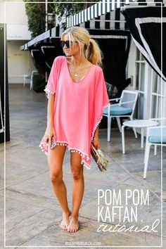 Pink Pom Pom Trim Kaftan swim cover up tutorial. Pink Pom Pom Trim Kaftan swim cover up tutorial. Kleidung Design, Diy Kleidung, Swimwear Cover Ups, Swimsuit Cover Ups, Swim Cover Ups, Swim Cover Up Dress, Summer Fashion For Teens, Outfits For Teens, Summer Fashions