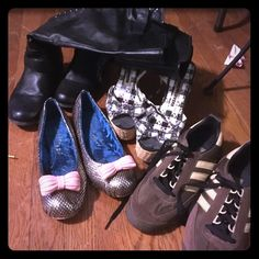 """Lot of 4 pairs of size 10 wmn shoes Gold with bow flats - have wear in bottomsbut exceptionally comfy and cute......Harajuku wedges """"picnic"""" ... Same . Have wear but in good condition ......adidas sl76.. These are hard to find these days. Brown and yellow worn once... No name knee faux leather boots. Bought off here for 60 new and not my style. Adidas Shoes"""