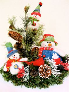 Snowman Christmas Centerpiece/Arrangement  OOAK Christmas-Winter (Approx. 15'H x 8''W). $69.00, via Etsy.