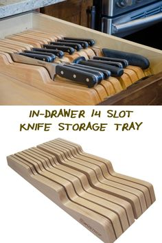 Do you need a better knife storage system? This In-drawer 14 slot knife storage tray might just be what you need! Kitchen Drawer Organization, Kitchen Storage Solutions, Diy Kitchen Storage, Kitchen Drawers, Kitchen Redo, Home Organization, Kitchen Remodel, Kitchen Cabinets, Kitchen Corner