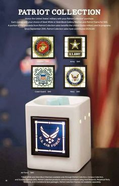 Scentsy's Patriot Collection...a portion of all proceeds get donated to the United States Military. Visit https://krissycash.scentsy.us/Buy/Category/1283 to order.