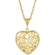 10K Gold Butterfly Heart Pendant Necklace ($285) ❤ liked on Polyvore featuring jewelry, necklaces, accessories, collares, yellow gold, heart chain necklace, gold heart necklace, gold necklace pendant, gold necklace and yellow gold heart necklace