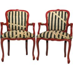 Striped Pair French Chairs