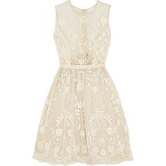 Embroidered silk-organza dress ($205) ❤ liked on Polyvore featuring dresses, vestidos, white, white embroidered dress, silk organza dress, needle & thread, white dress and embroidered dress