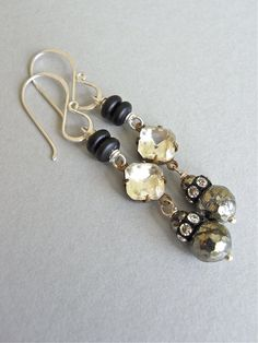 Earrings - vintage glass, pyrite, vintage crystal, etched onyx, sterling silver - By Candlelight