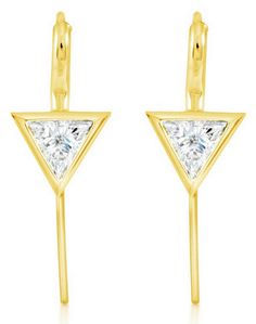 18K Yellow Gold Trillion Cut Diamond Earrings #RahaminovDiamonds