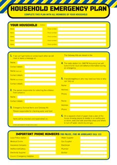 Household emergency plan