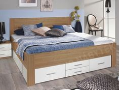 Postel Isotta 180x200 cm, dub riviera/bílá Closet Bedroom, Double Beds, White Bedroom, Garden Furniture, Bed Frame, Drawers, Home And Garden, The Originals, Home Decor