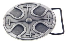 Texture Cross that is like a 3-D belt buckle made from cast pewter designed by Forgiven Jewelry