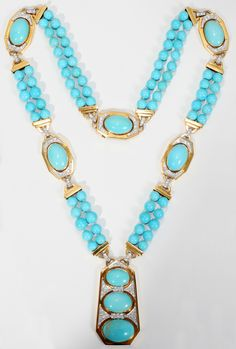 David Webb 18kt Gold, Diamond & Turquoise Lady's Necklace | February 2008 | Saturday Sale