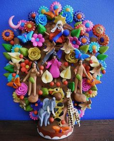 Mexican Tree of Life pottery Tree Of Life Painting, Tree Of Life Art, Mexican Colors, Mexican Style, Mexican Crafts, Mexican Folk Art, Latino Art, Mexican Heritage, Mexico Art
