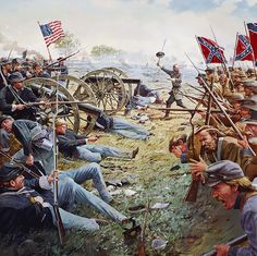 Day is ours: Gettysburg, PA, July 3, 1863 - Brigadier General Lewis Armistead leading the heroic and tragic moments of Pickett's Charge at the High Water Mark