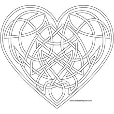 Knotwork heart coloring page- also available as a transparent PNG. Coloring pages for grownups
