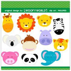 WA102 Jungle Animal - Personal and Commercial Use digital clip art - animal,lion,tiger,giraffe,hippopotamus,monkey,elephant,panda,koala,pig. $4.49, via Etsy.