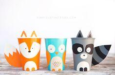 DIY Woodland Creature Cup Crafts - owl, raccoon, fox