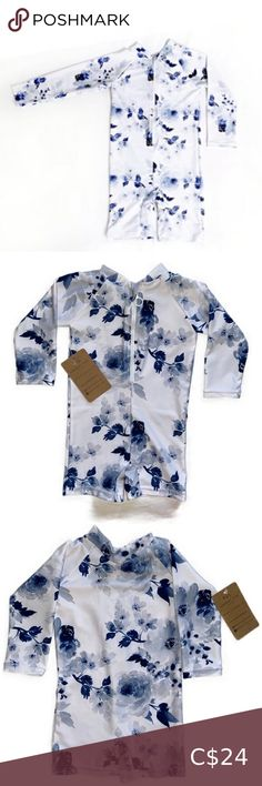 Current Dyed Blue Floral Sunsuit UPF 50+ Sunsuits feature chemical free protection against 98% of UV/UB rays Up to 23 lbs. Current Dyed Swim Rashguards Baby Swimsuit, Swimsuit Tops, Old Navy Swimsuits, Toddler Swimming, Orange Cardigan, Blue Jumpsuits, Baby Month By Month, Cute Pink, Plus Fashion