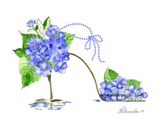 http://www.brownleeartstudio.com/apps/webstore/products/show/7281201 BLUE HYDRANGEA SHOE - All prints enhanced with paint and signed. Shipping refunded.