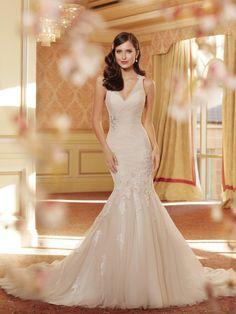 Wishesbridal Chic V Neck Trumpet #Mermaid #WeddingDress For Bride Ast0012