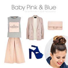 BABY PINK & BLUE Sencilla pero con un toque de  glamour inigualable. El largo de la falda confiere elegancia que, si te parece excesiva, se contrarresta con la camiseta informal gris. Para hacer más estiloso el look aún, opta por un recogido alto, como este moño trenzado.