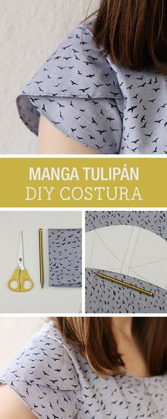DIY Tutorial: How to sew a tulip sleeve - Sewing on DaWanda. Kurti Sleeves Design, Sleeves Designs For Dresses, Dress Sewing Patterns, Clothing Patterns, Sewing Clothes, Diy Clothes, Sewing Machine Cake, Tulip Sleeve, Look Girl