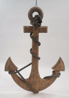Wooden Anchor & Braided Rope Nautical Maritime Boat Ship Beach Wall Hanging Art