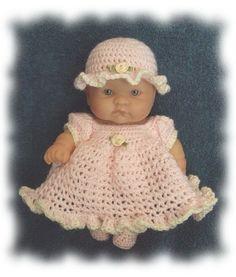 Free crochet thread doll dress pattern for 95 inch lil bittie dolls crochet pattern for 8 inch berenguer pretty pink dress set dt1010fo