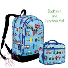 Boys Personalized Backpack. Airplane Trains by DivineSewingCenter