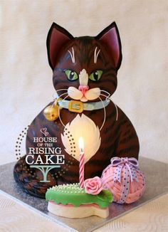 Easy Cat Shaped Birthday Cake