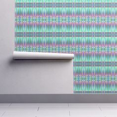 Isobar Durable Wallpaper featuring MUSIC DRUMS BLUE AQUA BOHO SUNNY AFTERNOON STRIPES by paysmage   Roostery Home Decor