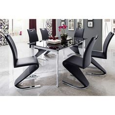 Plato 6 Seater Black Dining Table Set With Amado Dining Chairs