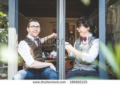 two young hipster stylish elegant men  - stock photo BUY IT FROM $1 ON SHUTTERSTOCK