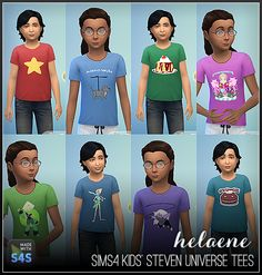 Hi guys -I've been enjoying watching Steven Universe lately, and thought I'd make some themed t-shirts for kids in the Sims 4. There are 24 variants, shown above. A few have extra images on the backs. Sorry for the lame/quick preview images. ;)DOWNLOAD (.package)Enjoy!<3 helaene