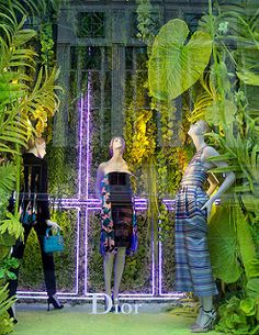Green Foliage | A Dior window display at Bergdorf Goodman.