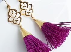 Dangly Swirly Marquise Tassel Earrings - Violet Gold by Lyla Accessories