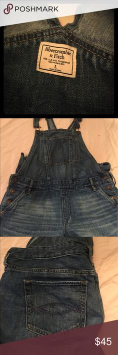 Abrocobie and fitch overalls Never worn distressed denim overalls boyfriend style very comfy I got a medium and just never sent these back just like wearing you sweats Abercrombie & Fitch Jeans Overalls