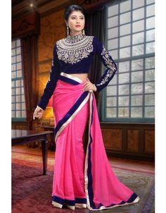 Brilliant Bright Pink Saree