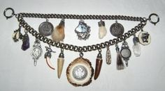 A Bavarian charivari; traditionally worn over the front of men's lederhosen, the charivari is a status symbol; it usually takes the form of a silver chain hung with coins and hunting trophies, the charms having personal significance. (trachtenschmuck-ammersee.de)
