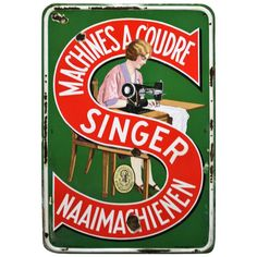 Vintage Singer Sewing Machine Double Sided Enamel porcelain Sign Board Made USA Treadle Sewing Machines, Antique Sewing Machines, Vintage Sewing Patterns, Singer Sewing Machines, Old Posters, Vintage Posters, Vintage Labels, Vintage Ads, Retro Ads